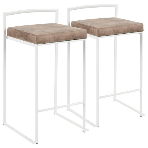 "Set of 2 26"" Fuji Contemporary Counter Height Barstools - LumiSource - image 1 of 4"