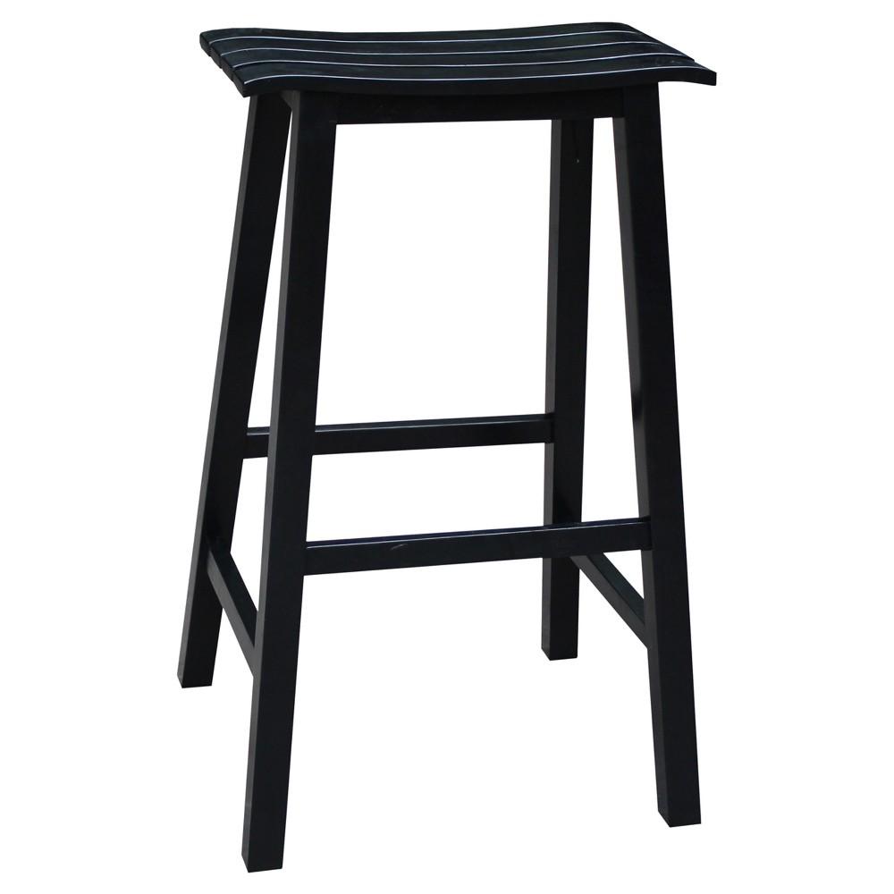 29 Slat Seat Stool - Black - International Concepts