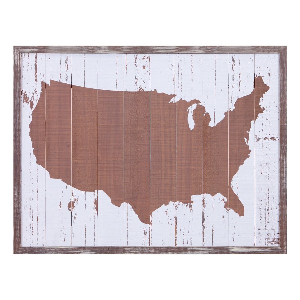 "Image of ""19""""x25"""" United States Maps Wood Plank Wall Art Brown - Patton Wall Decor"""
