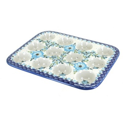 Blue Rose Polish Pottery Daphne Small Muffin Pan