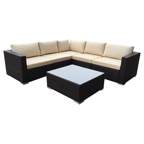 Santa Rosa 6pc Wicker Seating Sectional Set with Cushions - Christopher Knight Home - image 1 of 4