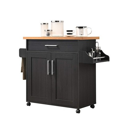 Hodedah Wheeled Kitchen Island with Spice Rack and Towel Holder, Black/Beech