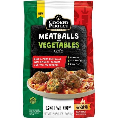 Cooked Perfect Beef & Pork Meatballs with Vegetables - Frozen - 18oz