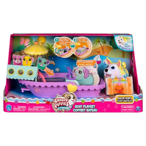 Chubby Puppies Boat Playset With Flip Open Deck And Chubby Puppy