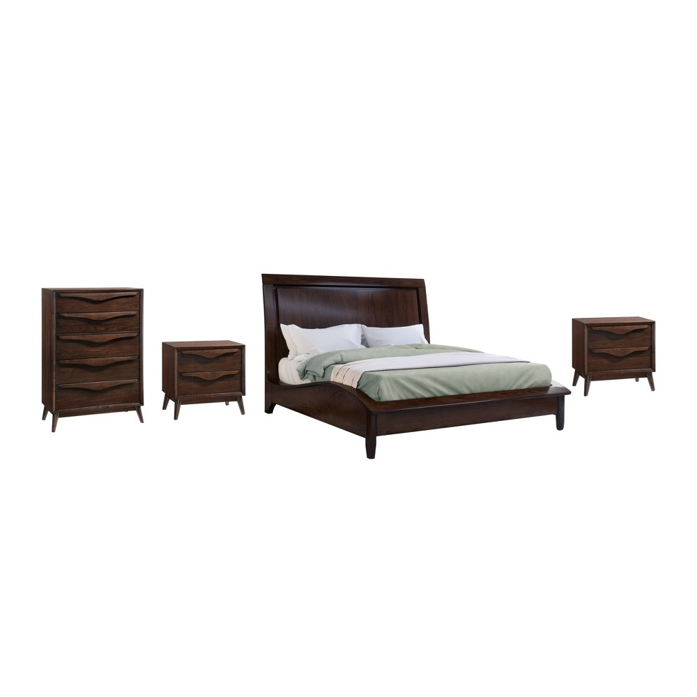 Image of 4pc Adelaide Solid Wood Mid Century Queen Bedroom Set Brown - Abbyson Living