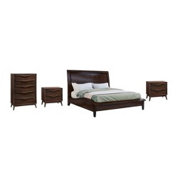 4pc Adelaide Solid Wood Mid Century Bedroom Set Brown - Abbyson Living