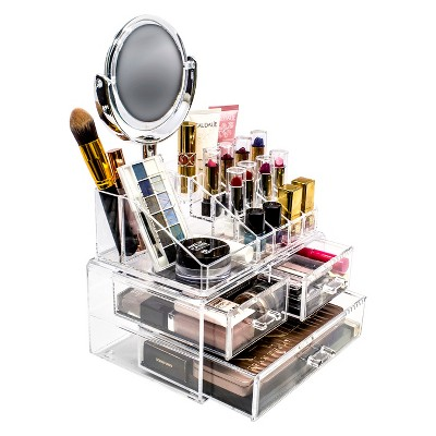 Sorbus Makeup Storage Organizer with Magnifying Mirror - Clear