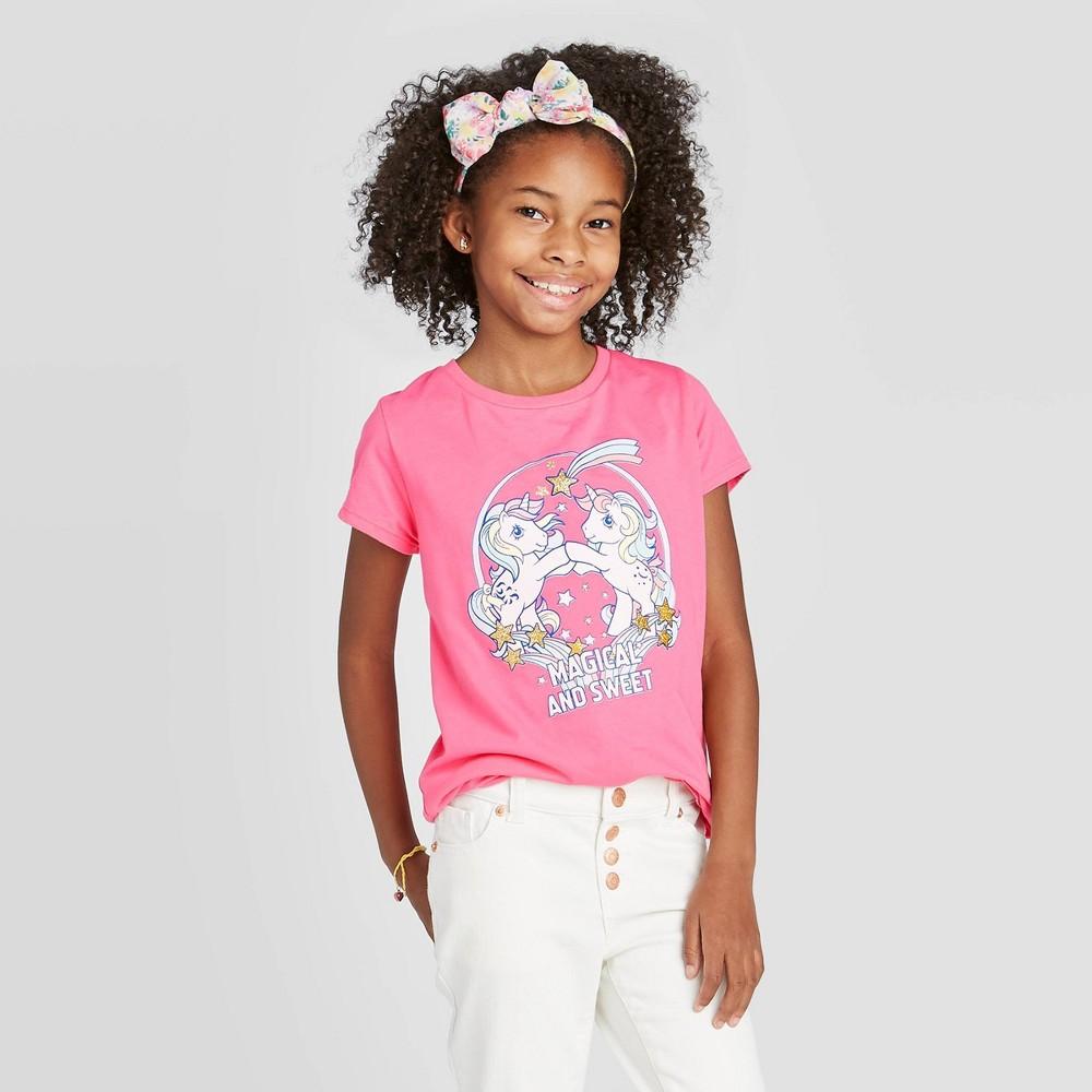 Image of petiteGirls' Short Sleeve Hasbro My Little Pony Magical & Sweet T-Shirt - Pink L, Girl's, Size: Large