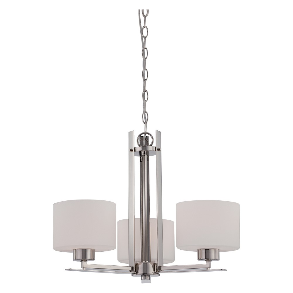 Aurora Lighting 3 Light Polished Chandelier Nickel