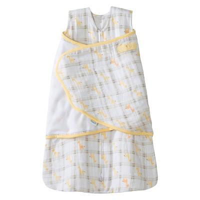 HALO® Sleepsack® 100% Cotton Muslin Swaddle - Yellow Giraffe Plaid - S