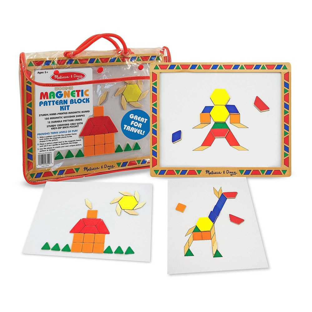 Melissa 38 Doug Deluxe Wooden Magnetic Pattern Blocks Set Educational Toy With 120 Magnets And Carrying Case