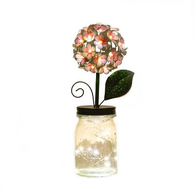 """13"""" Glass Hydrangea Jar with Lights Pink - Ultimate Innovations"""