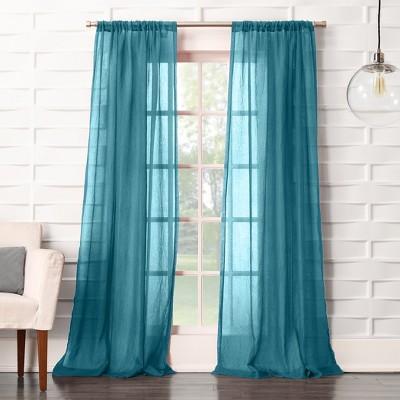 Avril Crushed Sheer Rod Pocket Curtain Panel Marine 50 x84  - No. 918