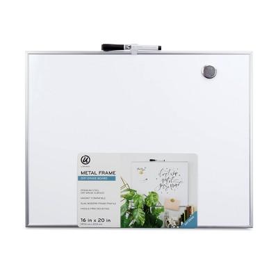 "U Brands 16""x20"" Magnetic Dry Erase Board Aluminum Frame"