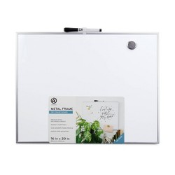 "16"" x 20"" Magnetic Dry Erase Board Aluminum Frame - U-Brands"
