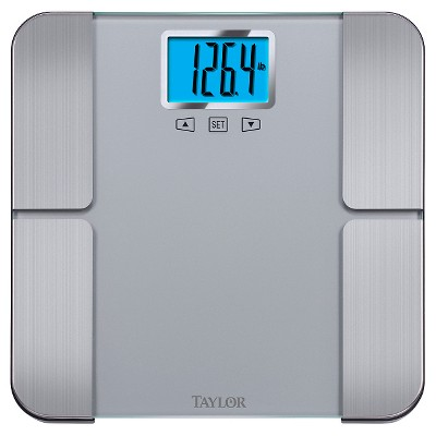 Body Fat Analyzer Scale With Blue Backlight Display Silver - Taylor