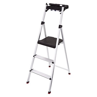 Rubbermaid 3-Step Lightweight Aluminum Step Stool with Project Tray
