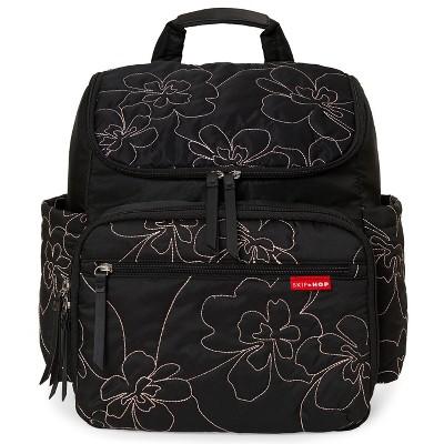 Skip Hop Forma Diaper Bag Backpack - Black Mauve Floral Stitch