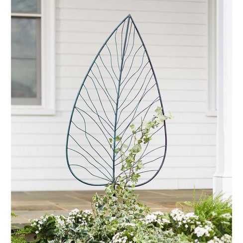 Leaf Shaped Garden Trellis With Ground Stakes Metal With
