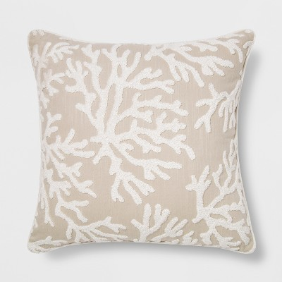 Embroidered Coral Square Throw Pillow Neutral - Threshold™