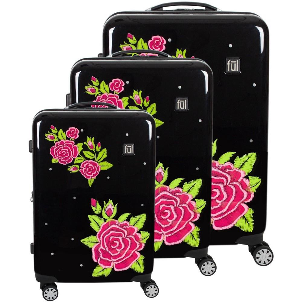 Ful 3pc Rose Print Hardside Luggage Set - Black/Red