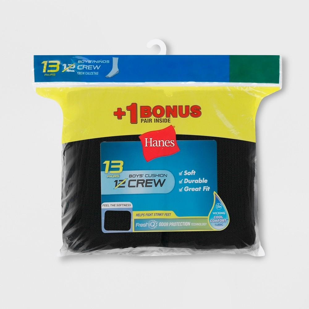 Hanes Boys' 12 + 1 Bonus Pack Crew Socks - Black S