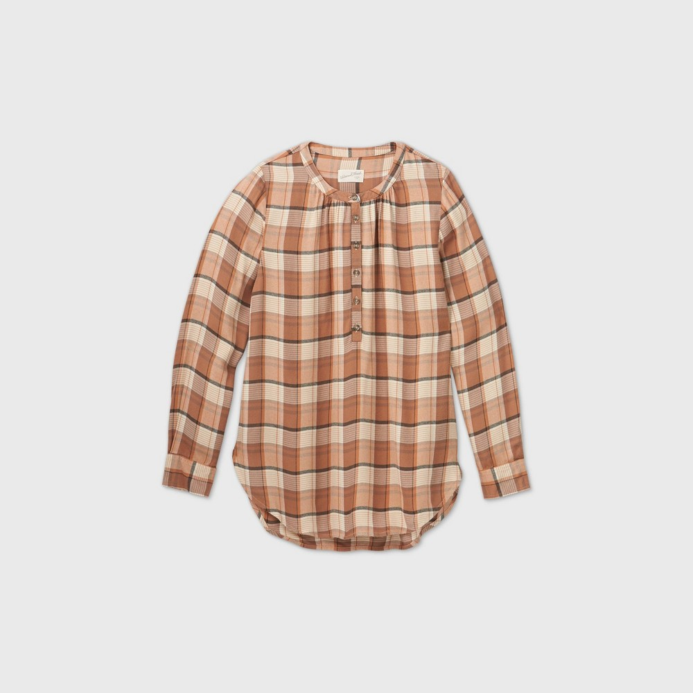 Discounts Women' Plaid Long leeve Tunic Popover Bloue - Univeral Thread™