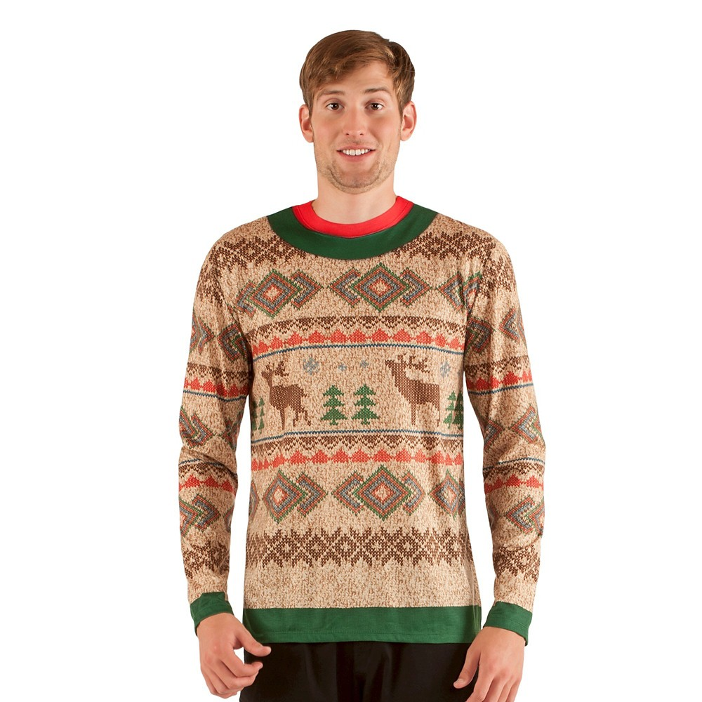 Men's Ugly Christmas Costume Sweater Reindeer, Long Sleeve T-Shirt - Large, Multi-Colored