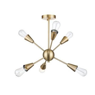 Clementine Semi-Flush Mount Ceiling Light Gold - Globe Electric