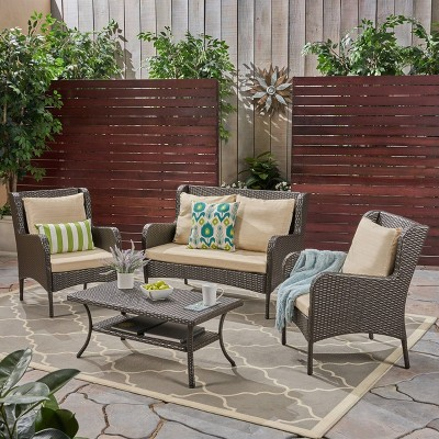 Adelaide 4pc Wicker Patio Chat Set - Brown - Christopher Knight Home