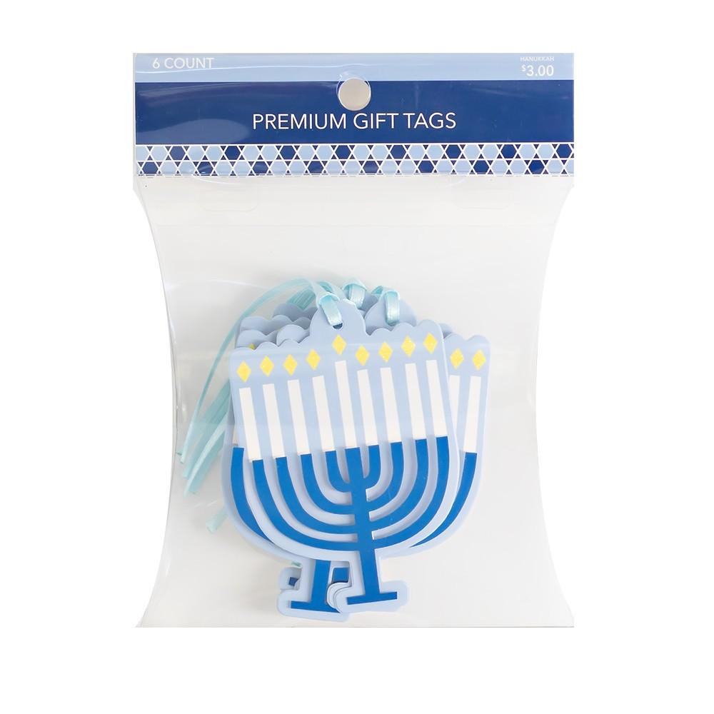 6ct Hanukkah Menorah Premium Gift Tag, Blue