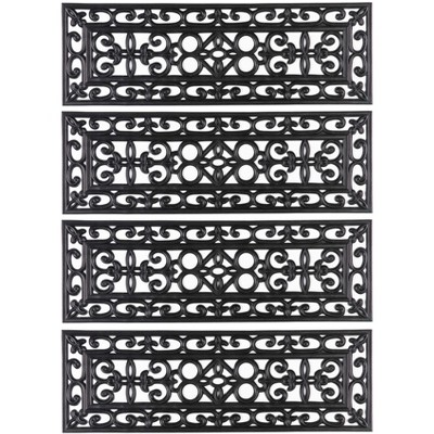 """1'10""""x1'10"""" Rectangle Indoor and Outdoor Woven Accent Rug Black - Gardenised"""