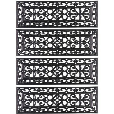 """1'10""""x1'10"""" Rectangle Indoor and Outdoor Woven Accent Rug Black - Gardenised - image 1 of 4"""
