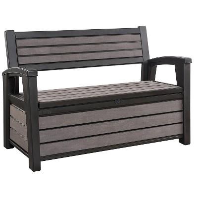 Keter Hudson 60 Gallon Plastic Resin Weather Resistant Outdoor Backyard Patio Storage Bench Deck Box, Brown