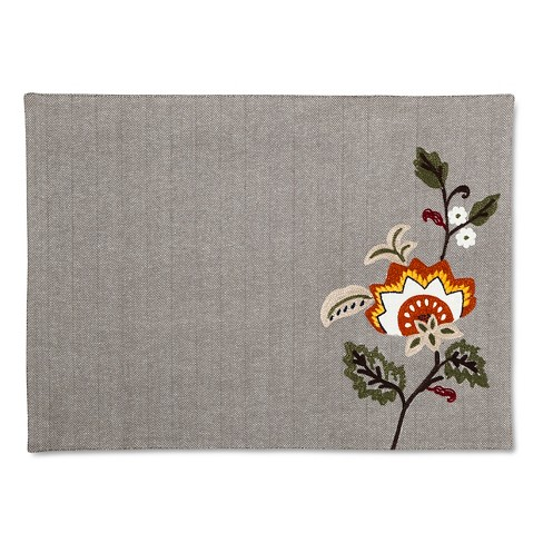 Gray Floral Placemat - Threshold™ - image 1 of 1