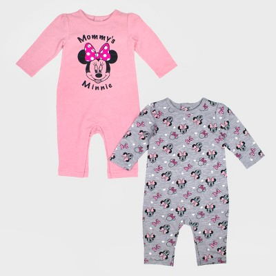 Baby Girls' 2pk Disney Mickey Mouse & Friends Minnie Mouse Long Sleeve Romper Set - Pink/Gray Newborn