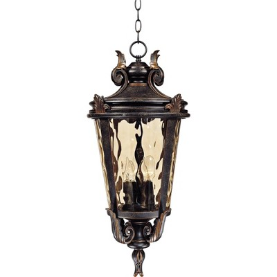 """John Timberland Traditional Outdoor Light Hanging Veranda Bronze Scroll 26 1/4"""" Champagne Water Glass Damp Rated for Porch Patio"""