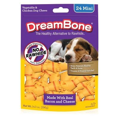DreamBone Rawhide Free Dog Chews Bacon & Cheese Mini Bones 24ct