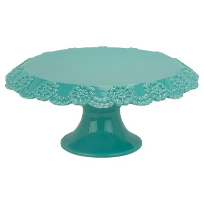 10 Strawberry Street Lace 12  Cake Stand - Turquoise