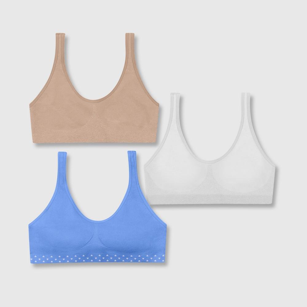 Hanes Girls' 2+1 Bonus Pack Get Cozy Seamless Pullover Bra - Beige/Purple/White L