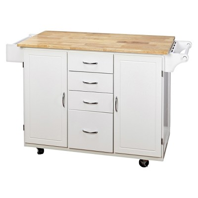 Cottage Country Wood Top Kitchen Cart - Buylateral