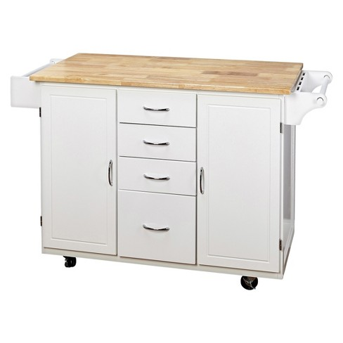 Cottage Country Wood Top Kitchen Cart - TMS - image 1 of 5
