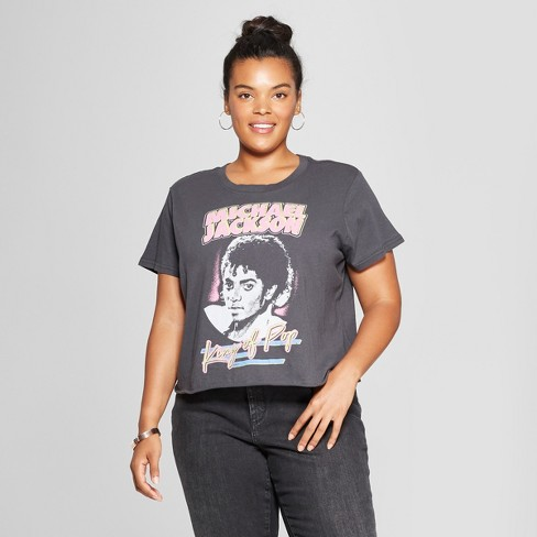 1c7730155b1b Women s Michael Jackson Plus Size King of Pop Short Sleeve Cropped Graphic T -Shirt (Juniors ) Black