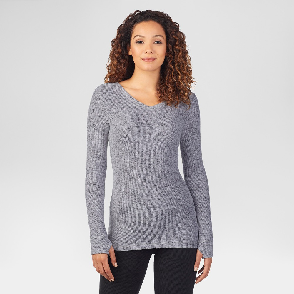 Warm Essentials by Cuddl Duds Women's Textured Fleece Thermal V-Neck Top - Heather Gray L