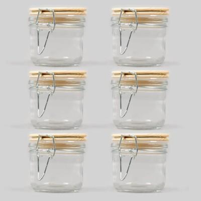 6pk Glass Mason Jars with Wood Hinged Lids - Bullseye's Playground™