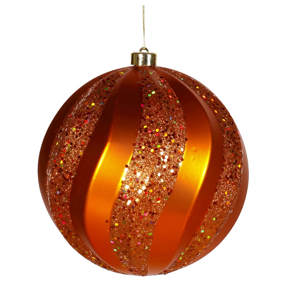 8 Burnt Orange Matte/Glitter Swirl Ball Christmas Ornament