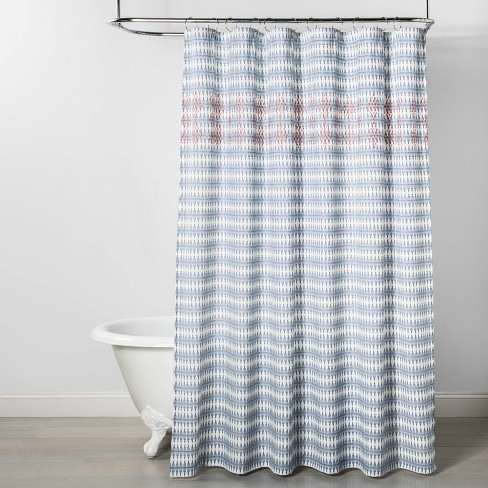 Wood Block Ogee Print With Embroidery Shower Curtain Blue - Opalhouse™ - image 1 of 3