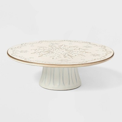 12  Terra Cotta Snowflake Cake Stand White - Threshold™