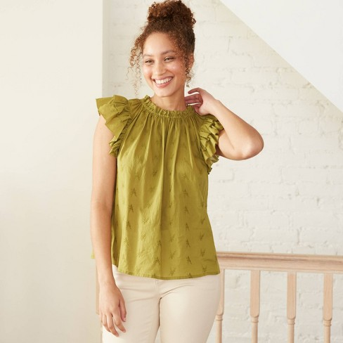 Women's Floral Print Flutter Short Sleeve Embroidered Blouse - Universal Thread™ - image 1 of 3