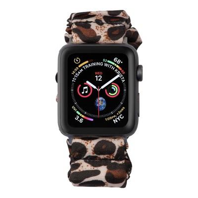 Insten Scrunchie Watch Band Compatible with Apple Watch Series SE 6 5 4 3 2 1 42mm 44mm, Elastic Fabric Wristband Strap, Fancy Bracelet,Leopard Print